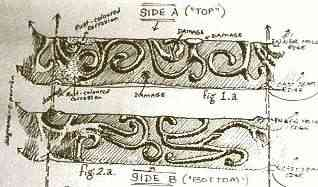 Detail of designs on celtic spindle whorl, drawing by Carin Perron